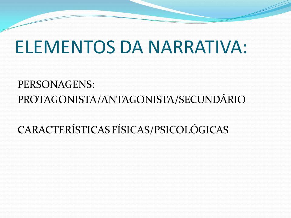 ELEMENTOS DA NARRATIVA: PERSONAGENS: PROTAGONISTA/ANTAGONISTA/SECUNDÁRIO CARACTERÍSTICAS FÍSICAS/PSICOLÓGICAS