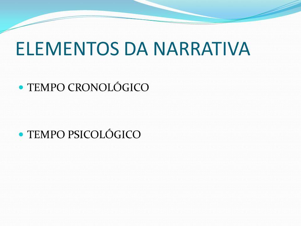 ELEMENTOS DA NARRATIVA TEMPO CRONOLÓGICO TEMPO PSICOLÓGICO