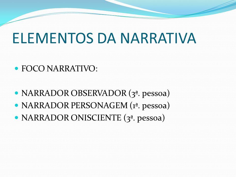 ELEMENTOS DA NARRATIVA FOCO NARRATIVO: NARRADOR OBSERVADOR (3ª. pessoa) NARRADOR PERSONAGEM (1ª. pessoa) NARRADOR ONISCIENTE (3ª. pessoa)