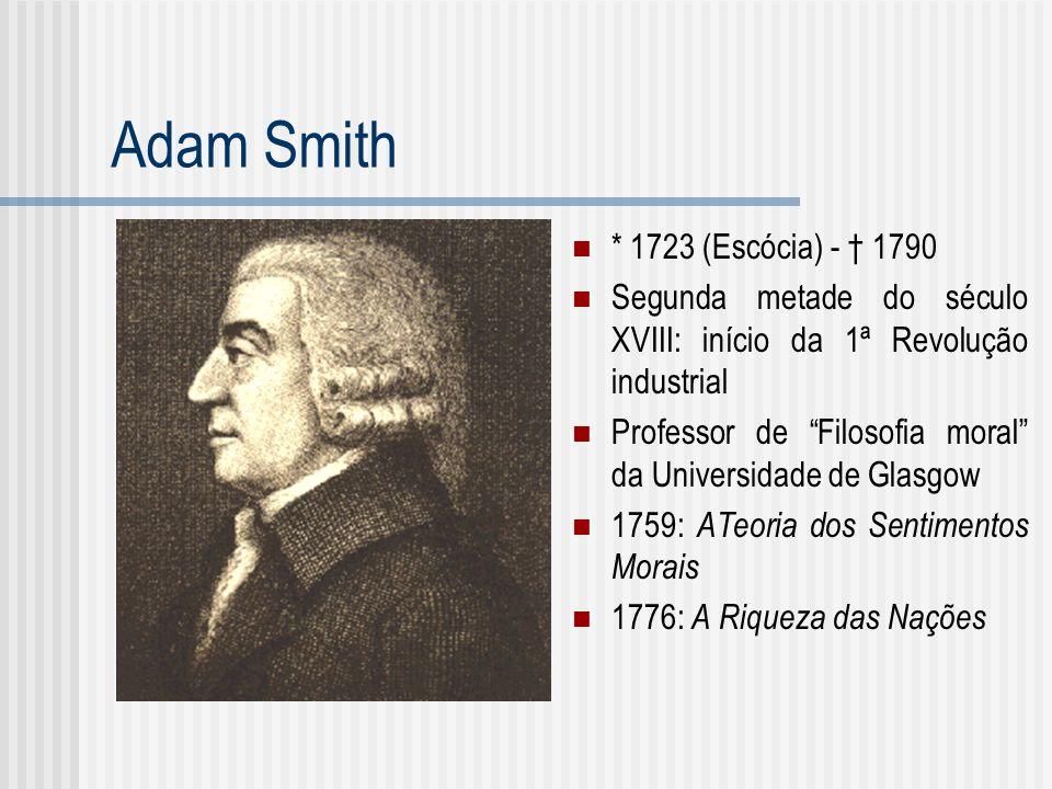Adam Smith * 1723 (Escócia) - 1790 Segunda metade do século XVIII: início da 1ª Revolução industrial Professor de Filosofia moral da Universidade de G