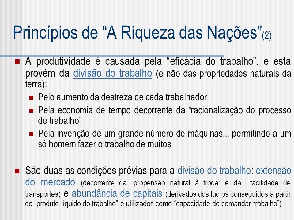Princípios de A Riqueza das Nações (2) A produtividade é causada pela eficácia do trabalho, e esta provém da divisão do trabalho (e não das propriedad