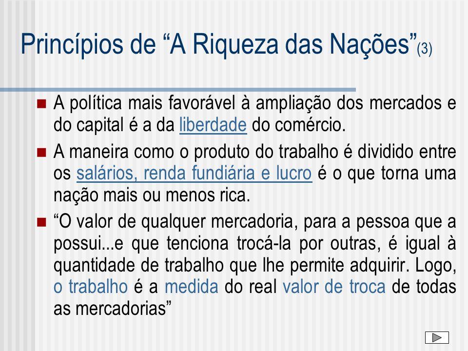 Princípios de A Riqueza das Nações (3) A política mais favorável à ampliação dos mercados e do capital é a da liberdade do comércio. A maneira como o