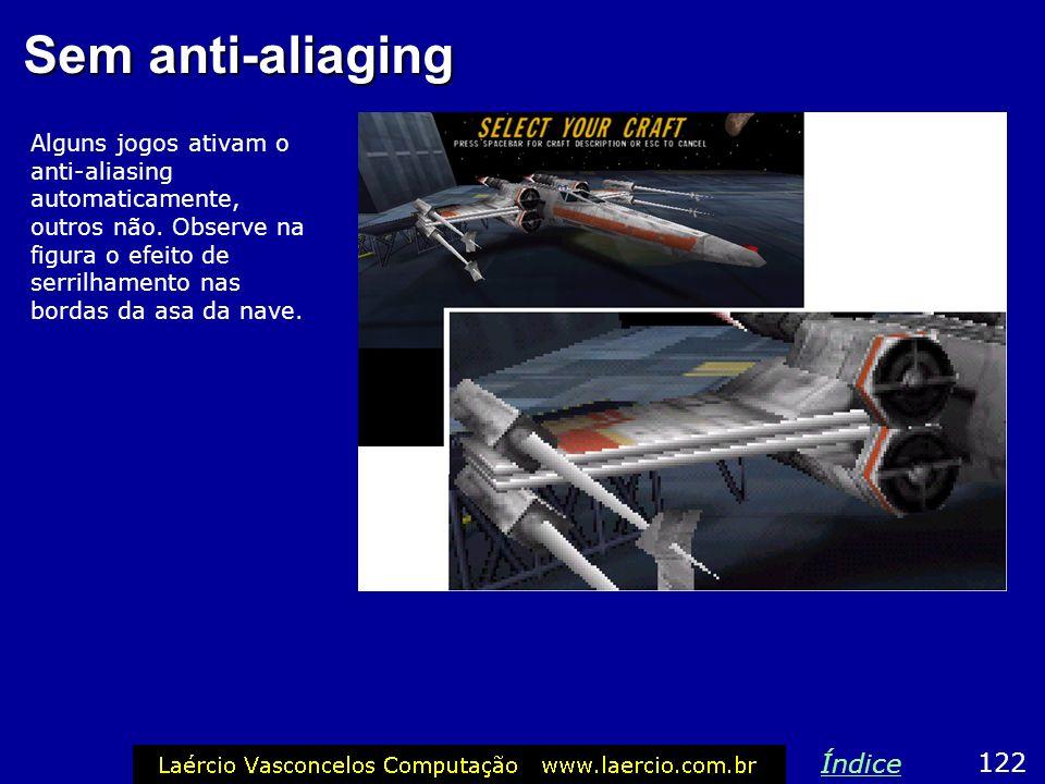 Sem anti-aliaging Alguns jogos ativam o anti-aliasing automaticamente, outros não. Observe na figura o efeito de serrilhamento nas bordas da asa da na