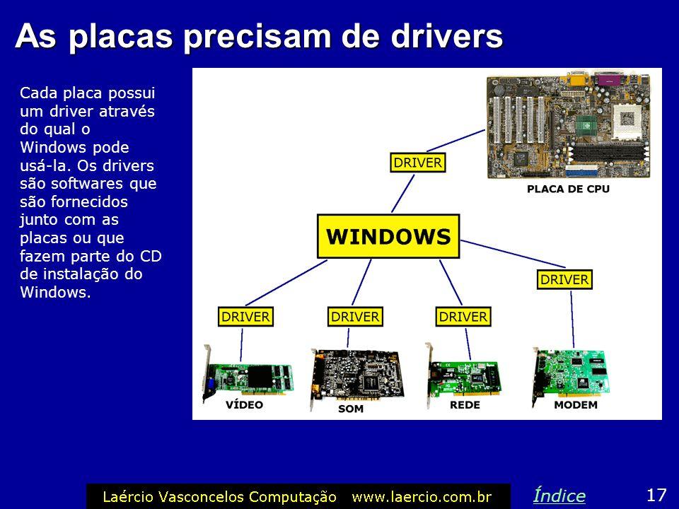 As placas precisam de drivers 17 Índice Cada placa possui um driver através do qual o Windows pode usá-la. Os drivers são softwares que são fornecidos