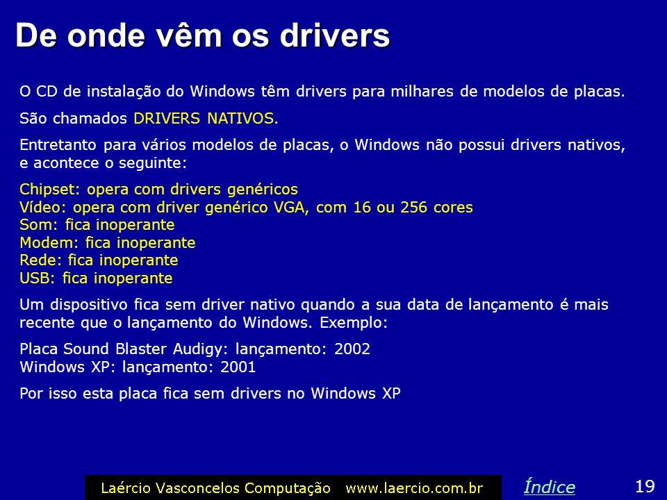 De onde vêm os drivers O CD de instalação do Windows têm drivers para milhares de modelos de placas. São chamados DRIVERS NATIVOS. Entretanto para vár