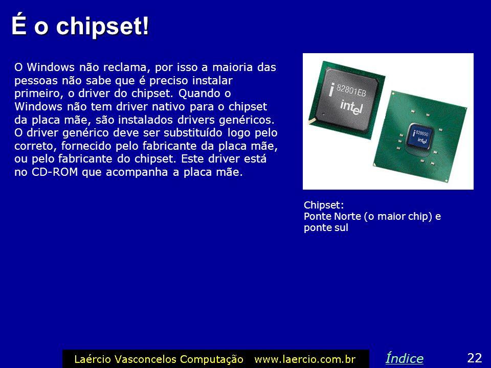É o chipset! O Windows não reclama, por isso a maioria das pessoas não sabe que é preciso instalar primeiro, o driver do chipset. Quando o Windows não