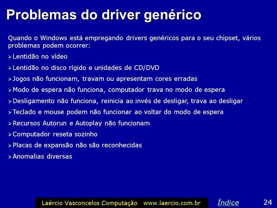 Problemas do driver genérico Quando o Windows está empregando drivers genéricos para o seu chipset, vários problemas podem ocorrer: Lentidão no vídeo
