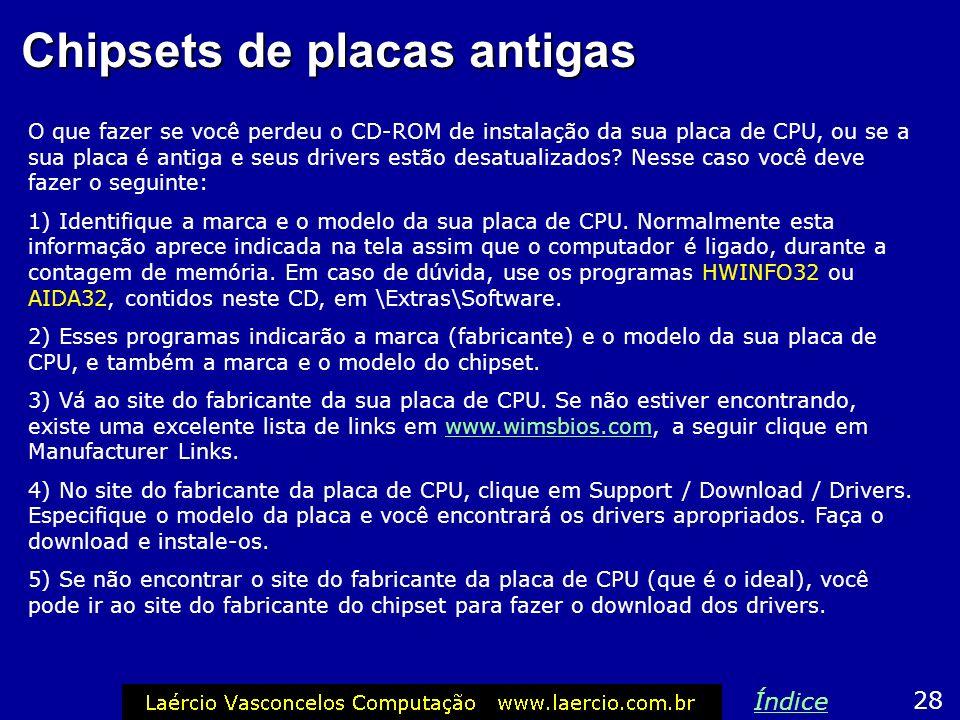 Chipsets de placas antigas O que fazer se você perdeu o CD-ROM de instalação da sua placa de CPU, ou se a sua placa é antiga e seus drivers estão desa