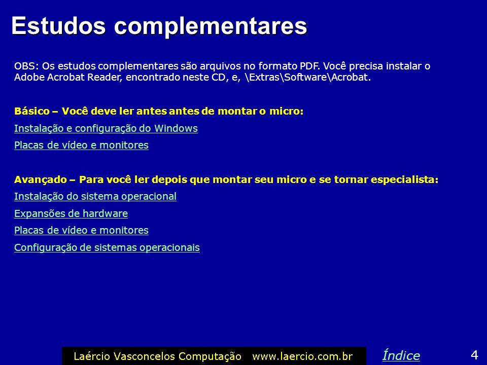 Estudos complementares OBS: Os estudos complementares são arquivos no formato PDF. Você precisa instalar o Adobe Acrobat Reader, encontrado neste CD,
