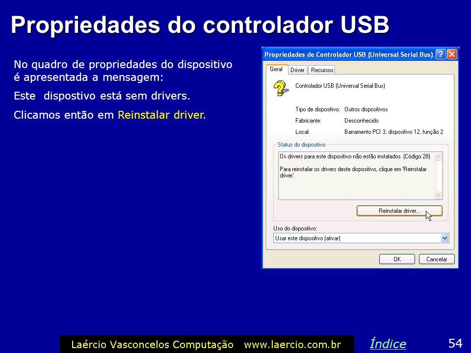 Propriedades do controlador USB No quadro de propriedades do dispositivo é apresentada a mensagem: Este dispostivo está sem drivers. Clicamos então em