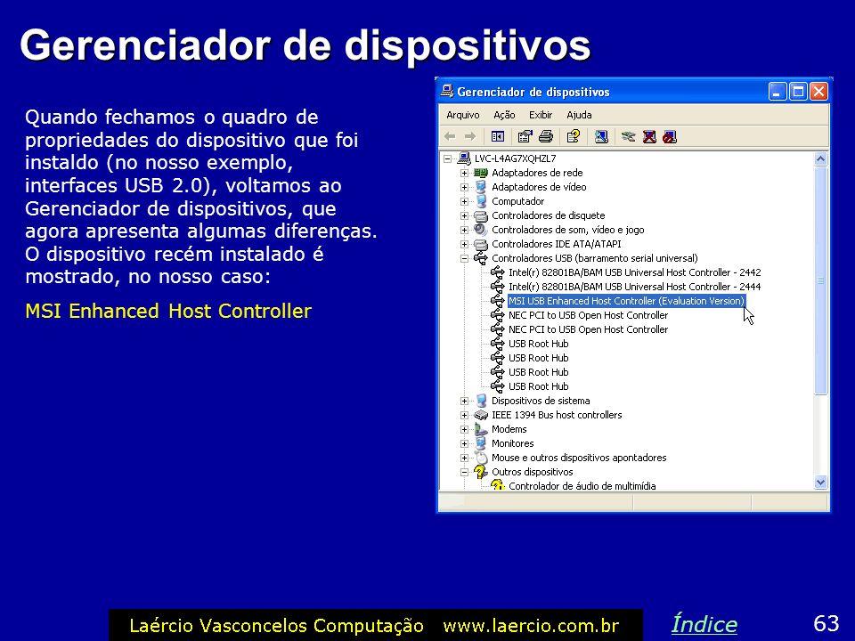Gerenciador de dispositivos Quando fechamos o quadro de propriedades do dispositivo que foi instaldo (no nosso exemplo, interfaces USB 2.0), voltamos