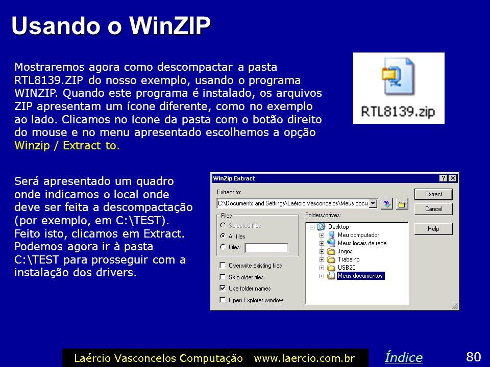Usando o WinZIP Mostraremos agora como descompactar a pasta RTL8139.ZIP do nosso exemplo, usando o programa WINZIP. Quando este programa é instalado,