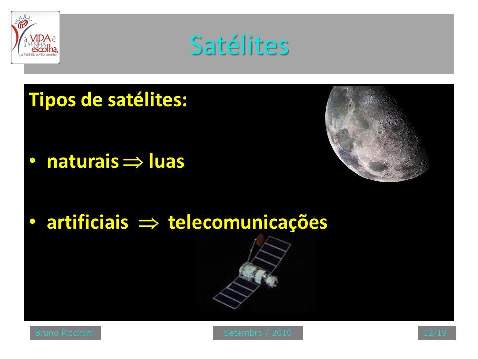 Satélites Tipos de satélites: naturais luas artificiais telecomunicações Bruno PiccininiSetembro / 201012/19