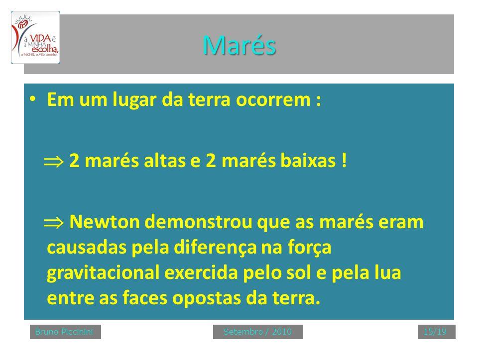Marés Em um lugar da terra ocorrem : 2 marés altas e 2 marés baixas ! Newton demonstrou que as marés eram causadas pela diferença na força gravitacion