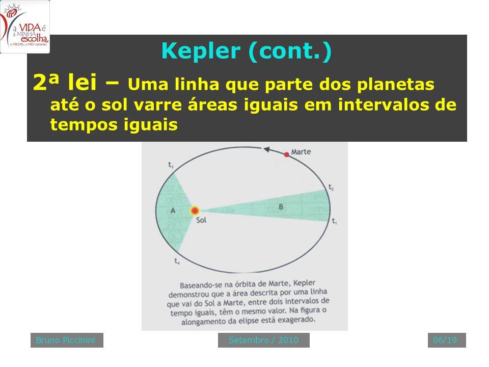 Kepler (cont.) 2ª lei – Uma linha que parte dos planetas até o sol varre áreas iguais em intervalos de tempos iguais Bruno Piccinini06/19Setembro / 20