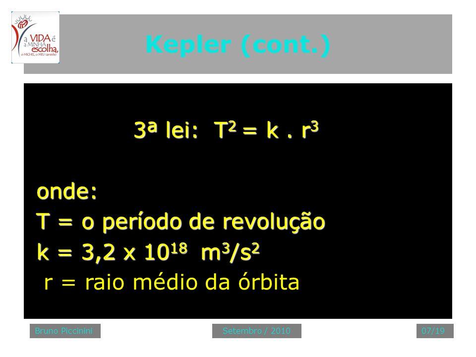 Kepler (cont.) 3ª lei: T 2 = k. r 3 3ª lei: T 2 = k. r 3 onde: onde: T = o período de revolução T = o período de revolução k = 3,2 x 10 18 m 3 /s 2 k