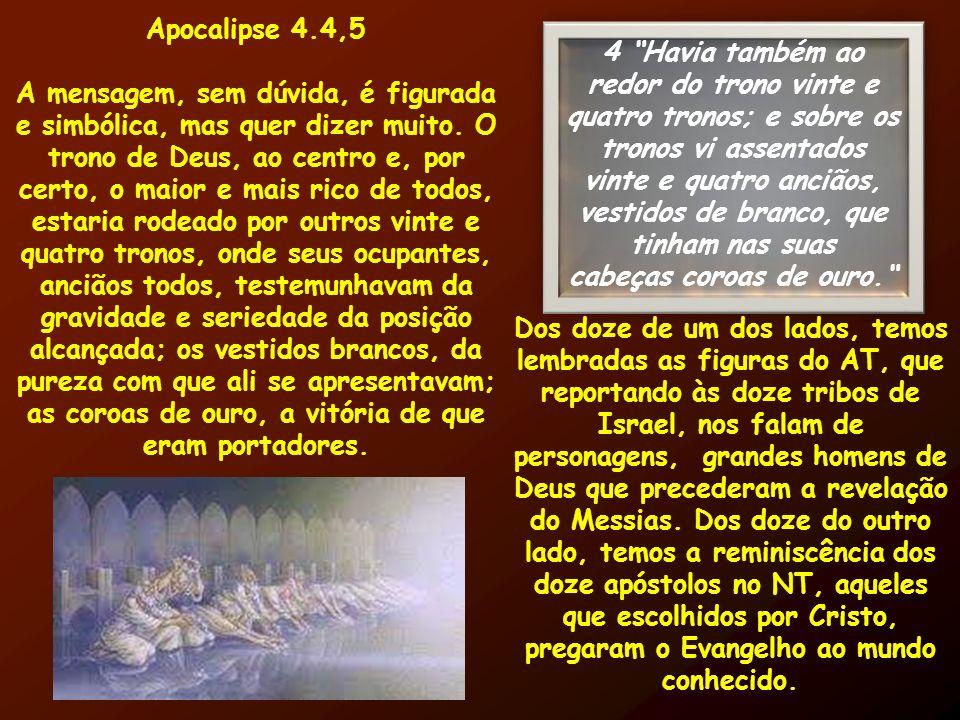 Apocalipse 4.4,5 A mensagem, sem dúvida, é figurada e simbólica, mas quer dizer muito. O trono de Deus, ao centro e, por certo, o maior e mais rico de