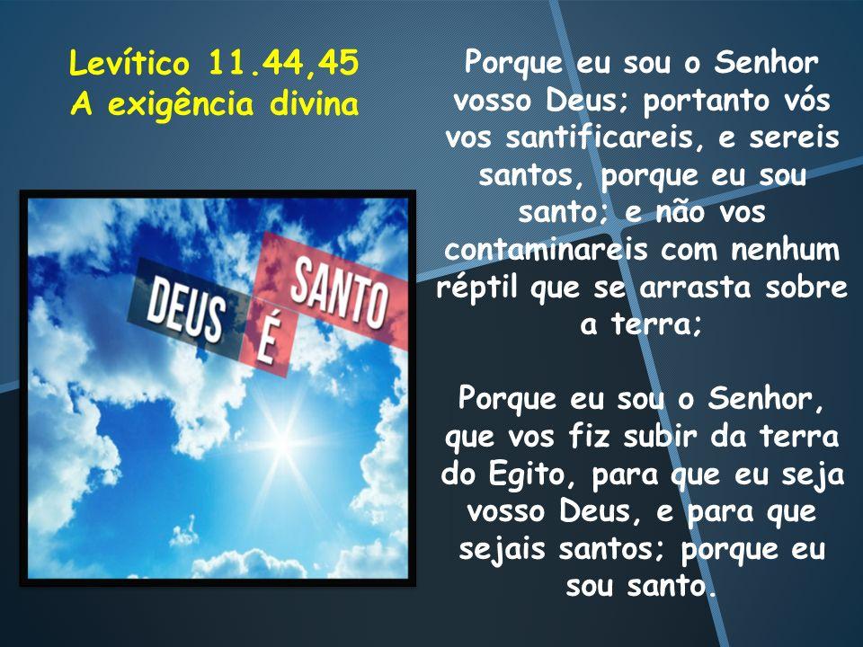 Porque eu sou o Senhor vosso Deus; portanto vós vos santificareis, e sereis santos, porque eu sou santo; e não vos contaminareis com nenhum réptil que