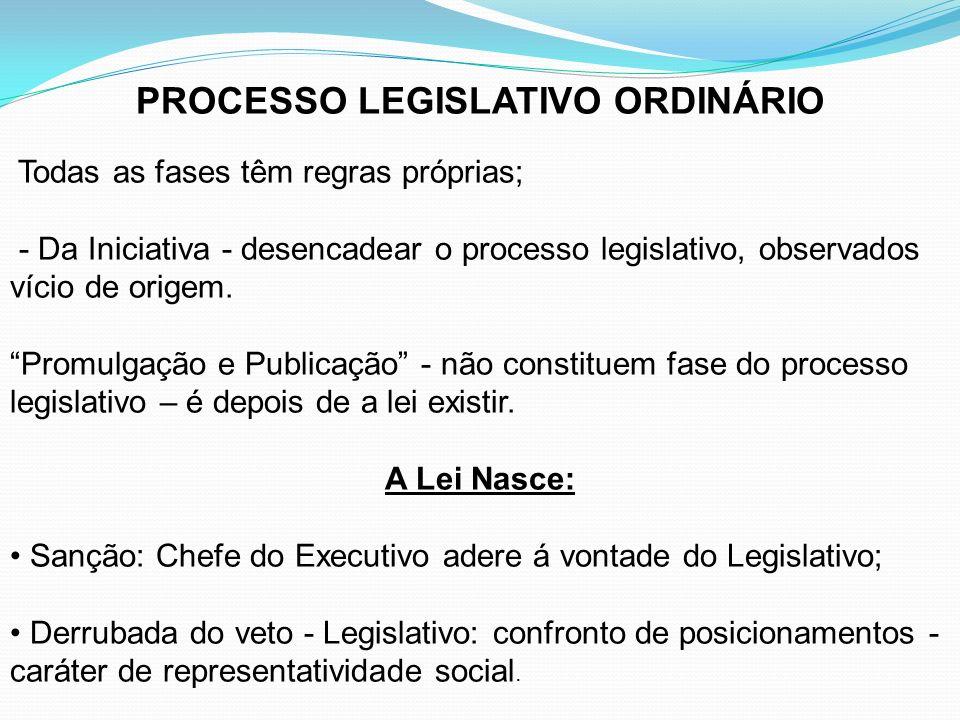 PROCESSO LEGISLATIVO ORDINÁRIO Todas as fases têm regras próprias; - Da Iniciativa - desencadear o processo legislativo, observados vício de origem. P