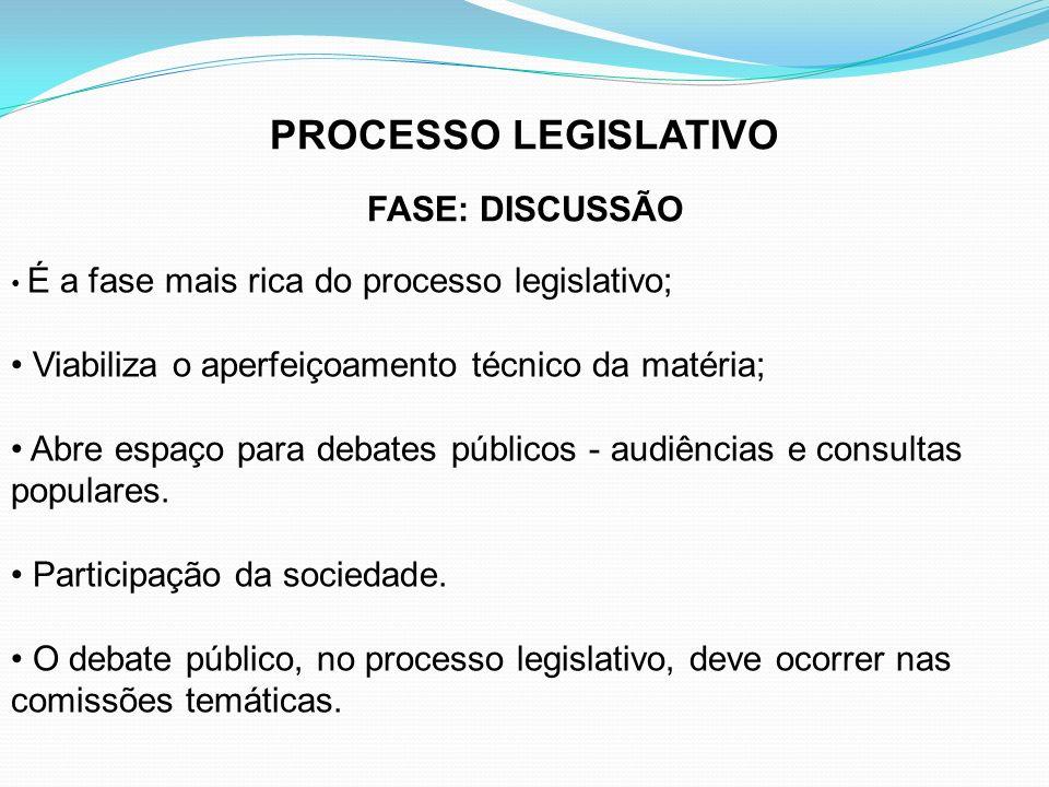 PROCESSO LEGISLATIVO FASE: DISCUSSÃO É a fase mais rica do processo legislativo; Viabiliza o aperfeiçoamento técnico da matéria; Abre espaço para deba