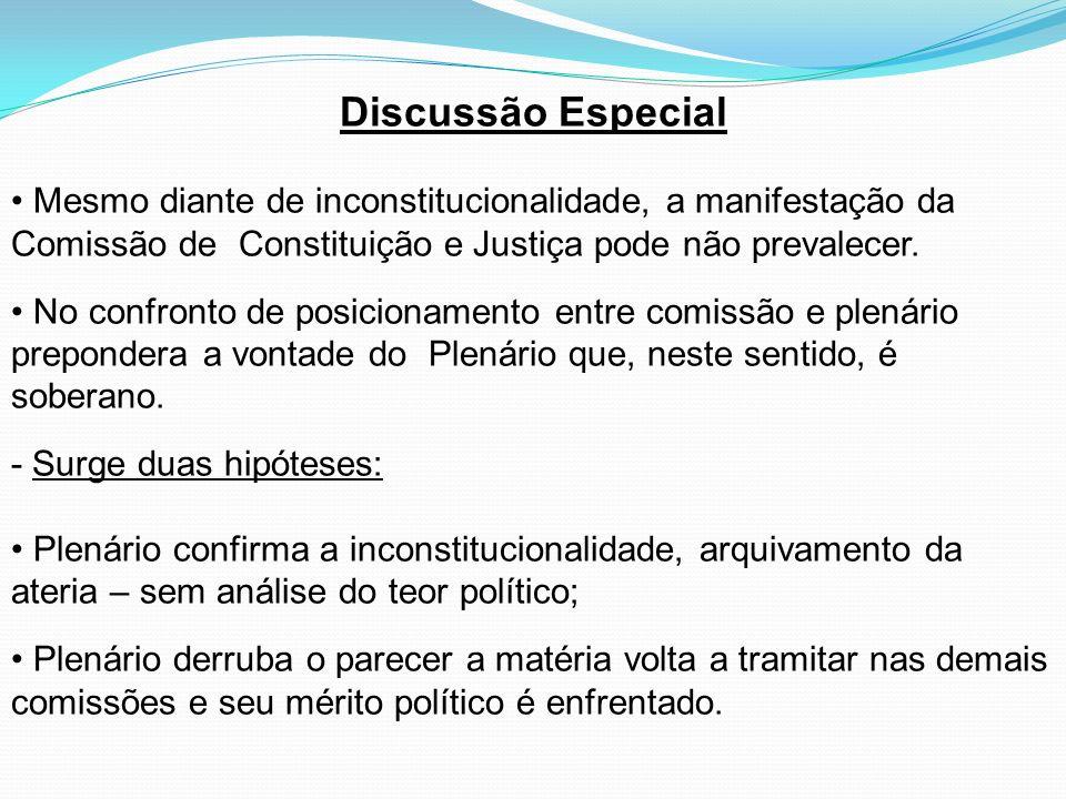 Discussão Especial Mesmo diante de inconstitucionalidade, a manifestação da Comissão de Constituição e Justiça pode não prevalecer. No confronto de po