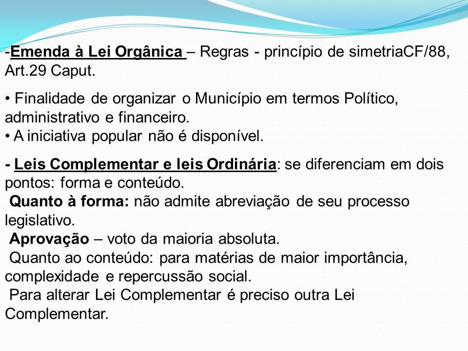-Emenda à Lei Orgânica – Regras - princípio de simetriaCF/88, Art.29 Caput. Finalidade de organizar o Município em termos Político, administrativo e f