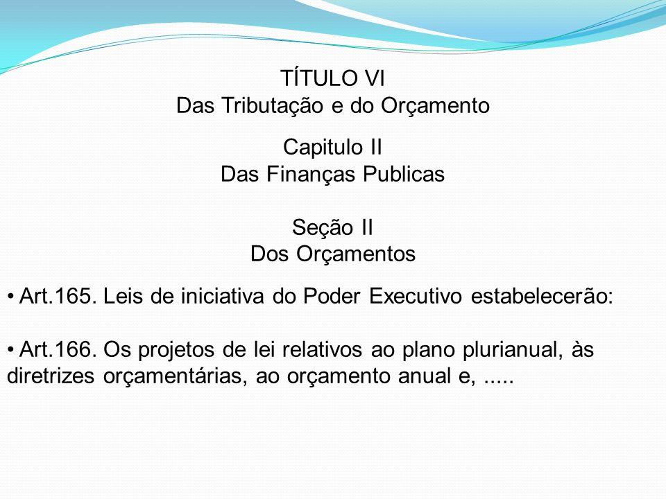 TÍTULO VI Das Tributação e do Orçamento Capitulo II Das Finanças Publicas Seção II Dos Orçamentos Art.165. Leis de iniciativa do Poder Executivo estab