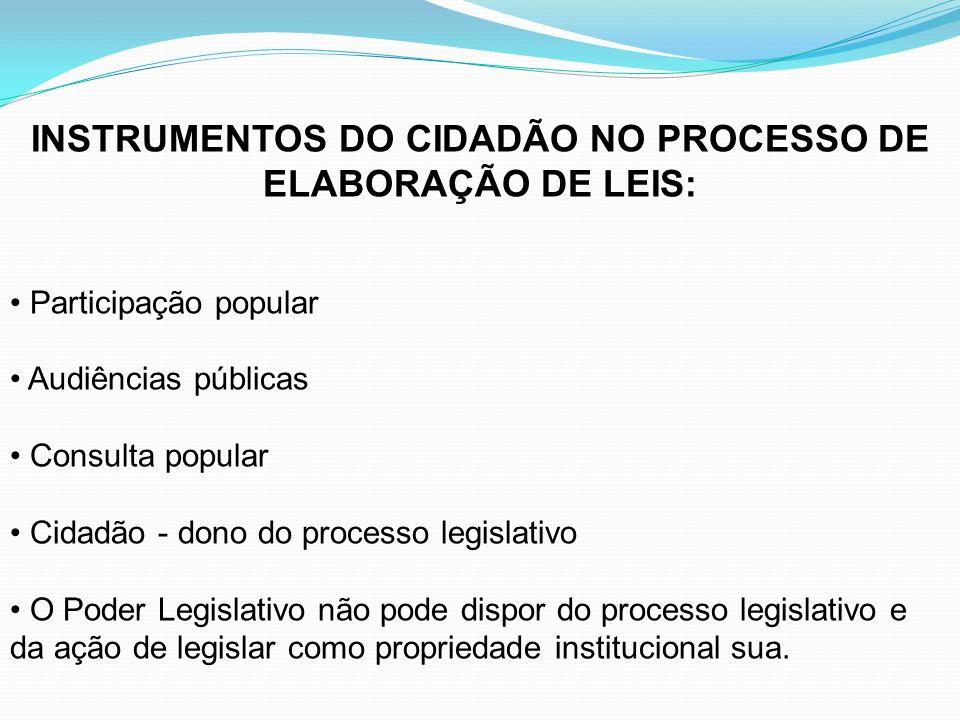 INSTRUMENTOS DO CIDADÃO NO PROCESSO DE ELABORAÇÃO DE LEIS: Participação popular Audiências públicas Consulta popular Cidadão - dono do processo legisl