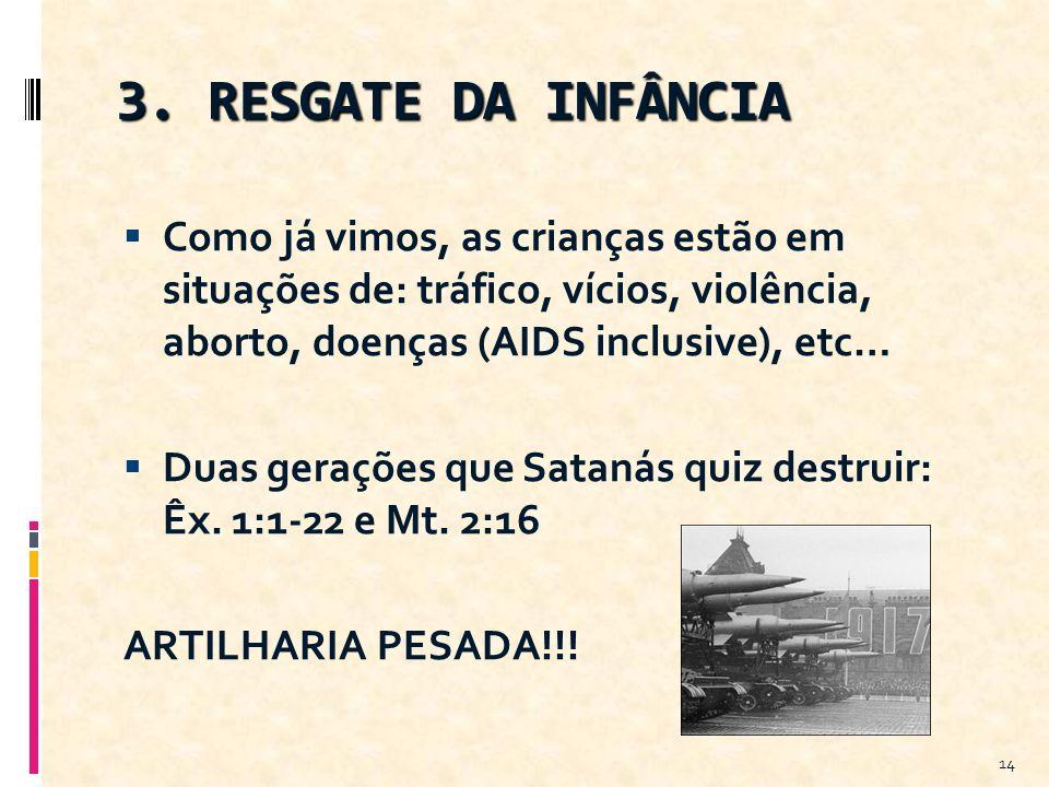 3. RESGATE DA INFÂNCIA Como já vimos, as crianças estão em situações de: tráfico, vícios, violência, aborto, doenças (AIDS inclusive), etc… Duas geraç