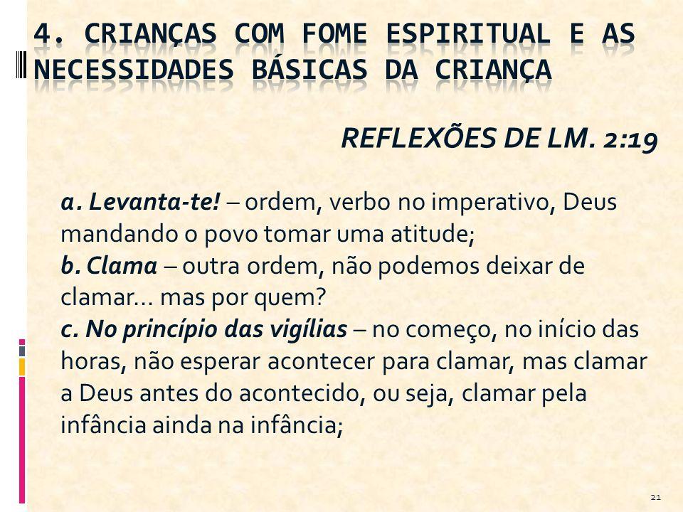 21 REFLEXÕES DE LM. 2:19 a. Levanta-te! – ordem, verbo no imperativo, Deus mandando o povo tomar uma atitude; b. Clama – outra ordem, não podemos deix