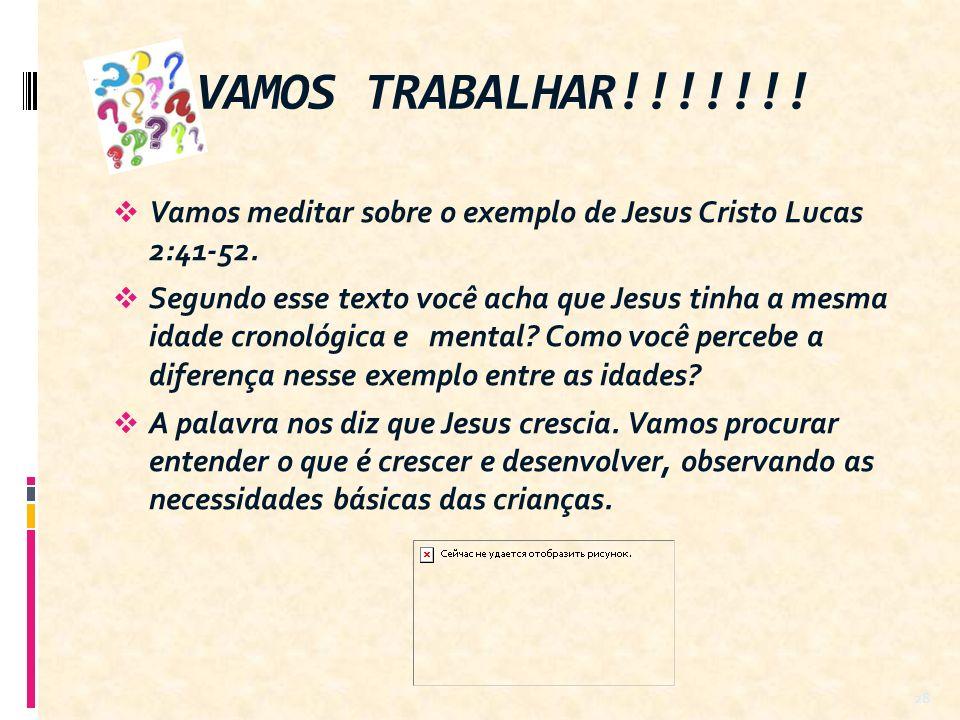 Vamos meditar sobre o exemplo de Jesus Cristo Lucas 2:41-52. Segundo esse texto você acha que Jesus tinha a mesma idade cronológica e mental? Como voc