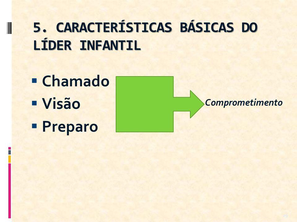 5. CARACTERÍSTICAS BÁSICAS DO LÍDER INFANTIL Chamado Visão Preparo 29 Comprometimento