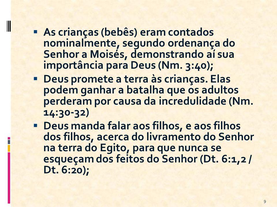 As crianças (bebês) eram contados nominalmente, segundo ordenança do Senhor a Moisés, demonstrando aí sua importância para Deus (Nm. 3:40); Deus prome