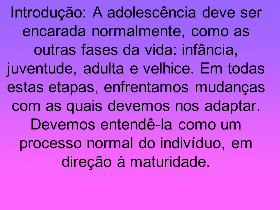 Introdução: A adolescência deve ser encarada normalmente, como as outras fases da vida: infância, juventude, adulta e velhice. Em todas estas etapas,