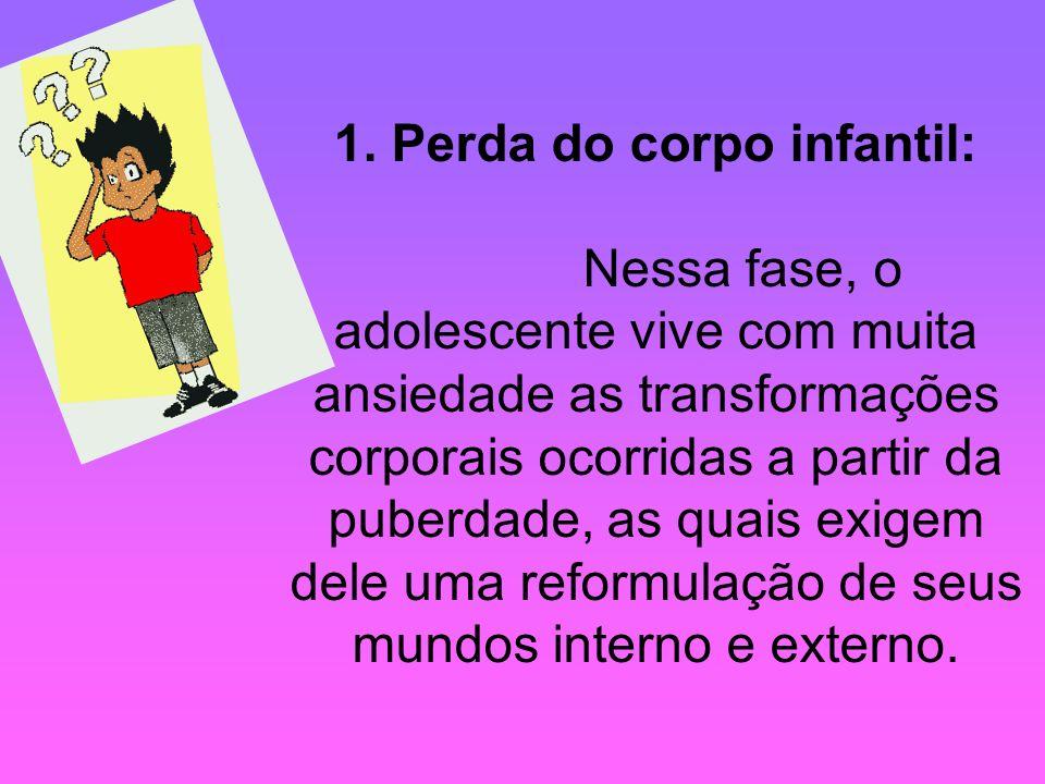 1. Perda do corpo infantil: Nessa fase, o adolescente vive com muita ansiedade as transformações corporais ocorridas a partir da puberdade, as quais e