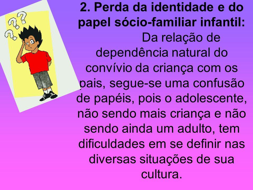 2. Perda da identidade e do papel sócio-familiar infantil: Da relação de dependência natural do convívio da criança com os pais, segue-se uma confusão