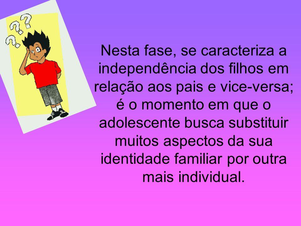 Nesta fase, se caracteriza a independência dos filhos em relação aos pais e vice-versa; é o momento em que o adolescente busca substituir muitos aspec