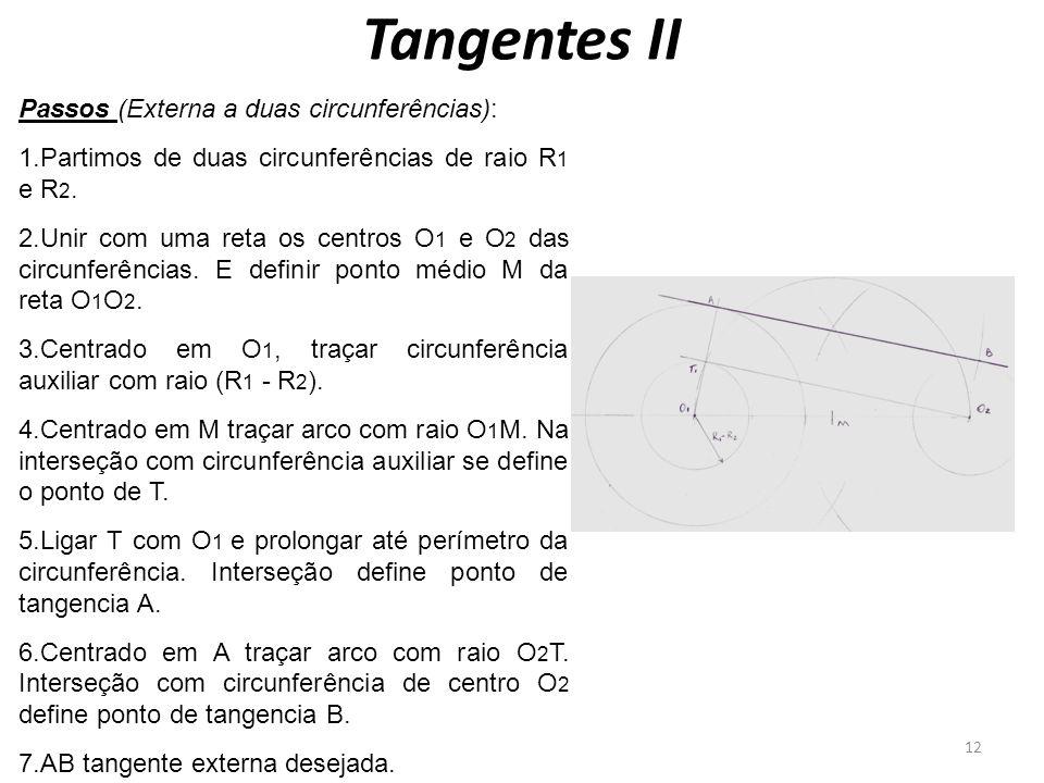 Tangentes II 12 Passos (Externa a duas circunferências): 1.Partimos de duas circunferências de raio R 1 e R 2. 2.Unir com uma reta os centros O 1 e O