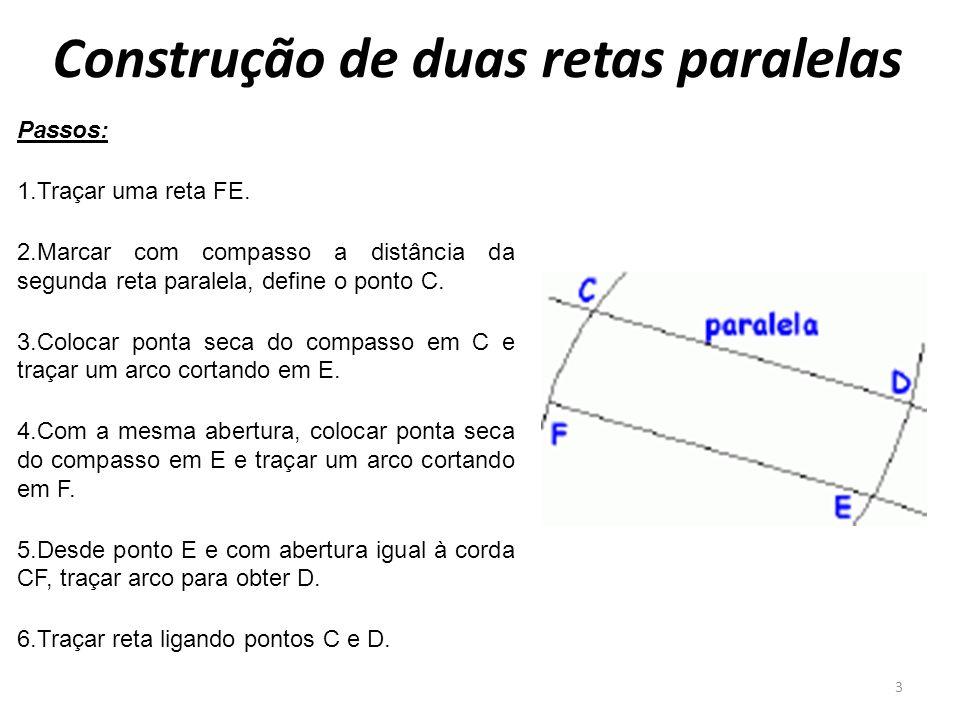 Construção de duas retas paralelas 3 Passos: 1.Traçar uma reta FE. 2.Marcar com compasso a distância da segunda reta paralela, define o ponto C. 3.Col
