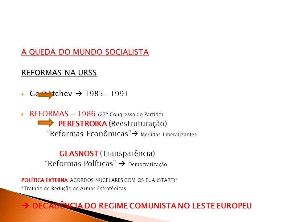 A QUEDA DO MUNDO SOCIALISTA REFORMAS NA URSS Gorbatchev 1985- 1991 REFORMAS - 1986 (27º Congresso do Partido) PERESTROIKA PERESTROIKA (Reestruturação)
