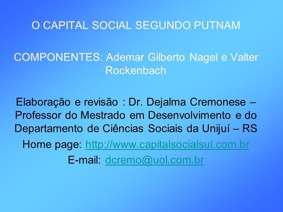 O CAPITAL SOCIAL SEGUNDO PUTNAM COMPONENTES: Ademar Gilberto Nagel e Valter Rockenbach Elaboração e revisão : Dr. Dejalma Cremonese – Professor do Mes