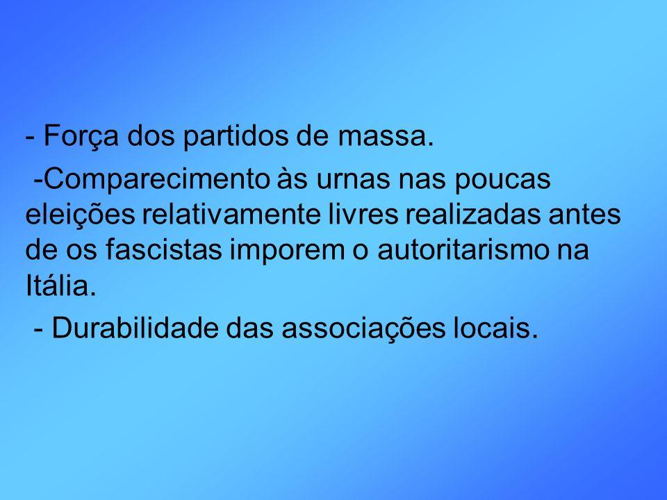 - Força dos partidos de massa. -Comparecimento às urnas nas poucas eleições relativamente livres realizadas antes de os fascistas imporem o autoritari