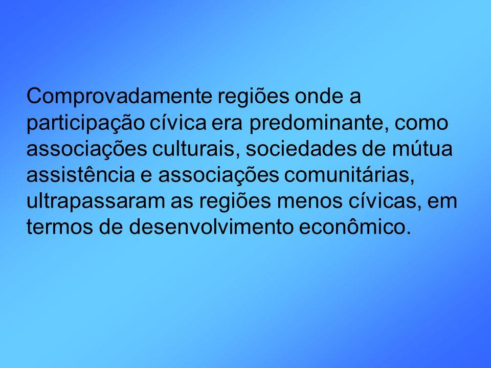 Comprovadamente regiões onde a participação cívica era predominante, como associações culturais, sociedades de mútua assistência e associações comunit