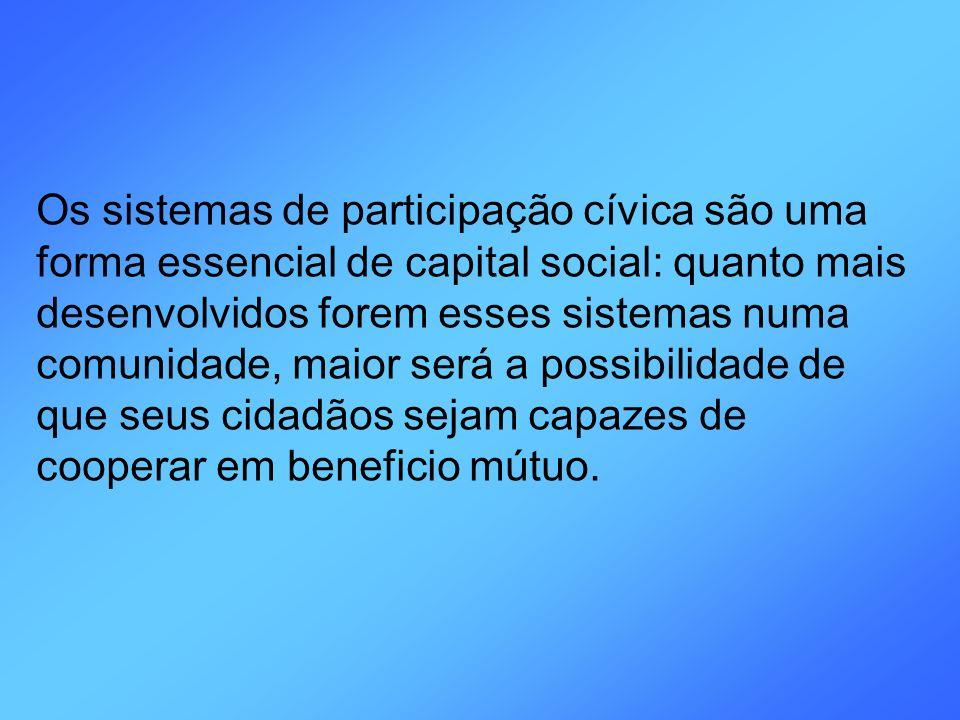 Os sistemas de participação cívica são uma forma essencial de capital social: quanto mais desenvolvidos forem esses sistemas numa comunidade, maior se