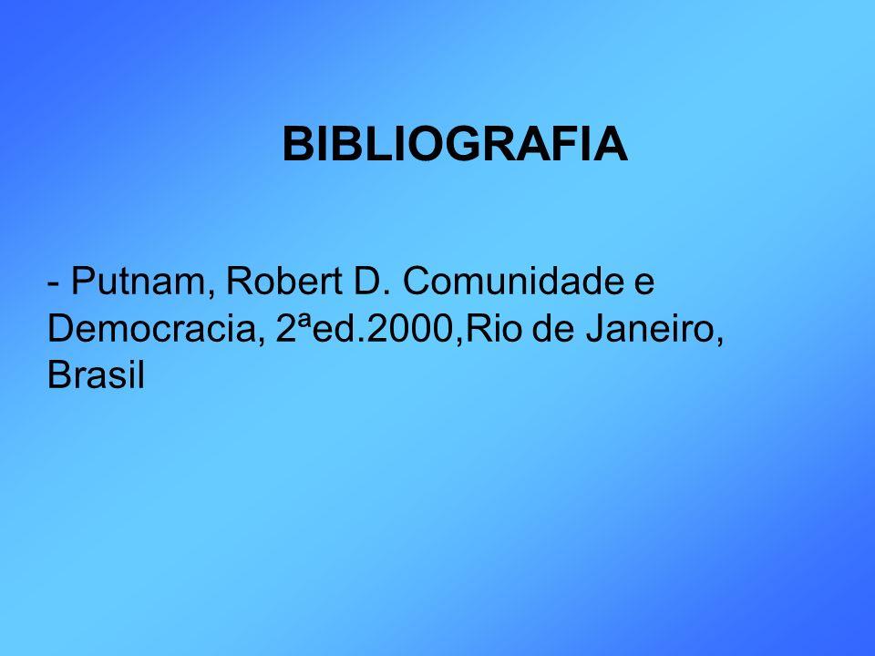 BIBLIOGRAFIA - Putnam, Robert D. Comunidade e Democracia, 2ªed.2000,Rio de Janeiro, Brasil