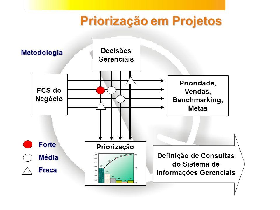 Priorização em Projetos Prioridade, Vendas, Benchmarking, Metas FCS do Negócio Decisões Gerenciais Priorização ForteMédiaFraca Definição de Consultas