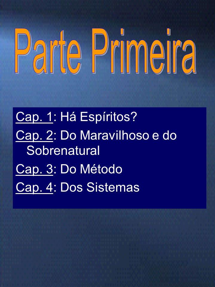 Marta/FEB15 É constituído de duas partes: Parte primeira: Noções preliminares 4 capítulos Parte segunda: Das Manifestações espíritas. 32 capítulos