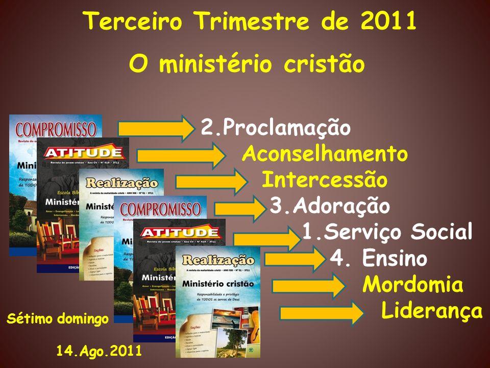 Terceiro Trimestre de 2011 O ministério cristão 2.Proclamação Aconselhamento Intercessão 3.Adoração 1.Serviço Social 4. Ensino Mordomia Liderança Séti