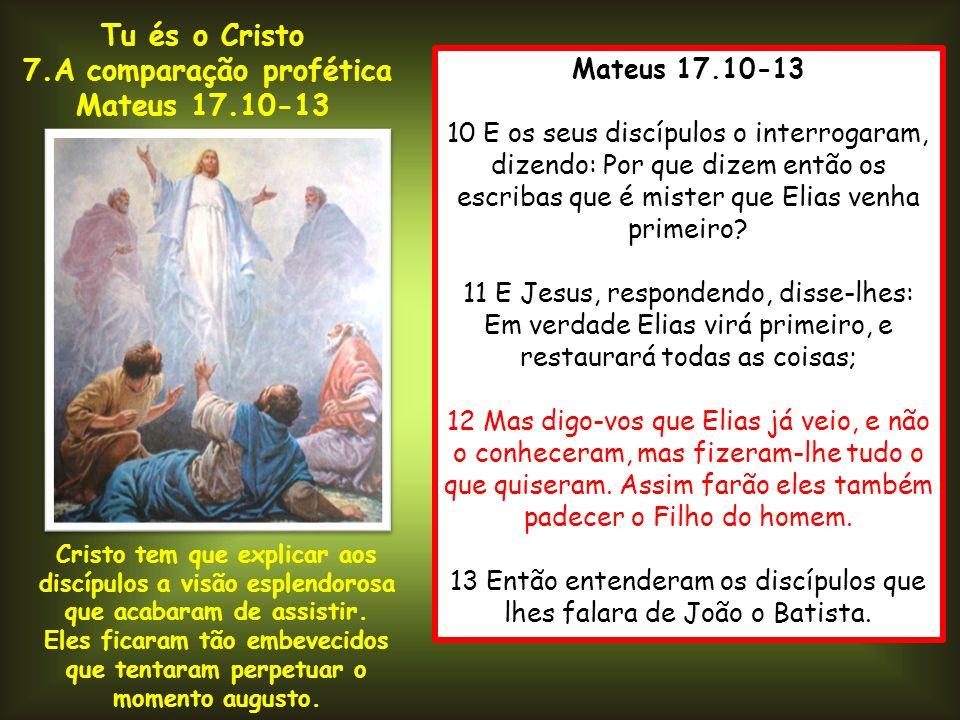 Mateus 17.10-13 10 E os seus discípulos o interrogaram, dizendo: Por que dizem então os escribas que é mister que Elias venha primeiro? 11 E Jesus, re