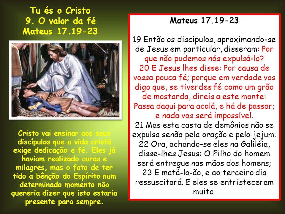 Mateus 17.19-23 19 Então os discípulos, aproximando-se de Jesus em particular, disseram: Por que não pudemos nós expulsá-lo? 20 E Jesus lhes disse: Po